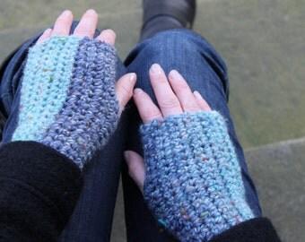 Fingerless gloves in blue skies, knit mittens, gift ideas, knitwear UK