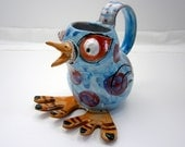 Chick Bird Ceramic Creamer  Small Blue Pitcher Majolica Pottery Folk Art  8 oz