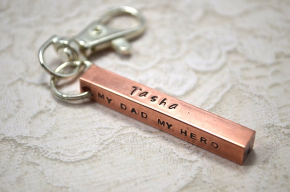 Father's Day Keychain Copper Bar Husband Boyfriend Son Dad Mom Grandma Graduation Gift