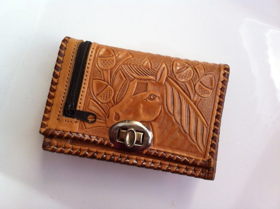 Vintage Horse Wallet - Tooled Leather Coin Purse - Womens Mens