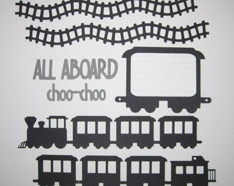 TRAIN Scrapbook Border Set, 2 Page Layout Kit / Die Cuts - Premade 12X12