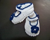 Crochet Mary Jane Baby Booties White and Navy Blue