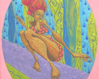 Groovy surfer girl fully embellished 11x14 ready-to-hang
