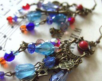 Whimsical, Gypsy, Bohemian, Hippie, chandelier earrings,red, blue, steampunk, by NewellsJewels on etsy