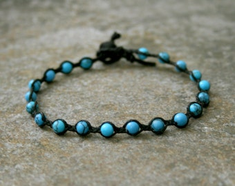 Yoga Meditation Jewelry Single Wrap Turquoise Stone Bracelet Black and Blue