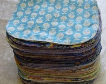 100 Boys Mixed Print, Cloth Baby Wipes, Cloth Napkins, Family Cloth