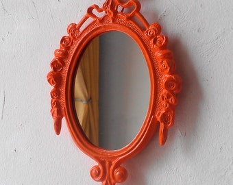 Small Vintage Mirror in Bright Orange Oval Metal Frame, Home Decor, Perfect for Nursery, Beach Home or Accent Walls!
