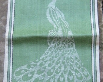 Fab DSS Never Used Green Hand Tea Towel Peacock Made In Czech