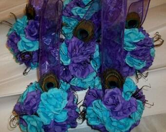 6 Bouquet, Wedding Kissing Ball,  Pomander, Wedding Decor, Peacock Bouquet, Peacock Wedding, Bridal Kissing Ball, Bridesmaids, Flower Girls