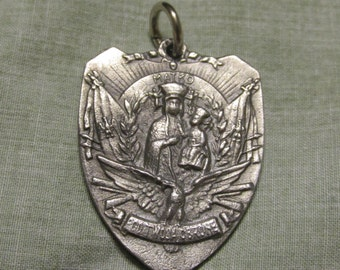 Silver Rare Medal Our Lady Emblem shape, with several basilicas Religious pendant for necklace rosary bracelet