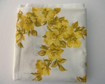 Vintage White standard Pillowcase - cotton, yellow flowers