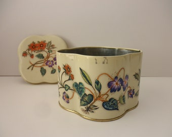 Daher vintage cream DECORATIVE TIN - floral, Made in England