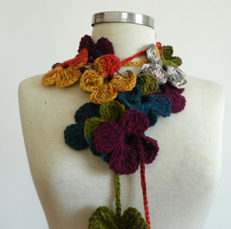 crochet lariat scarf handmade crochet flower neckwarmer