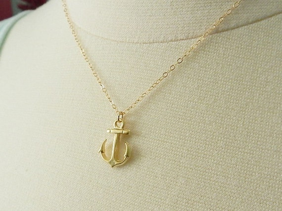 Little anchor necklace, 14k gold filled chain,  delicate modern jewelry