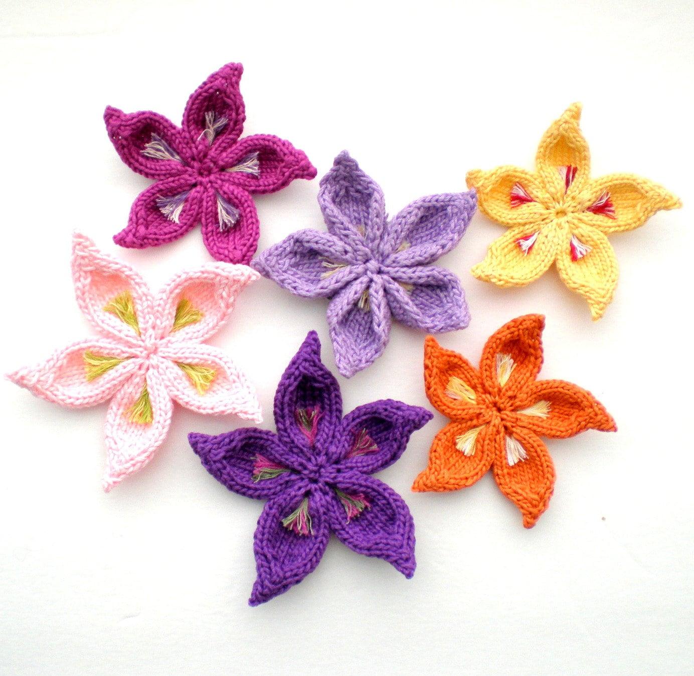 Knit Flower Patterns : PDF Knit Flower Pattern Sakura Flower