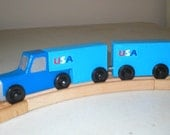 Blue Toy Big Rig Truck with Tandem Trailers for use with wooden toy train tracks
