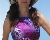 Adjustable Crop Top Halter Purple Satin Zebra Playa Wear Burner One Size Fits Most