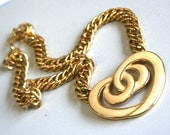 Enamel Pretzel heart necklace , 80s, 1980s, pendant, gold chain, chunky