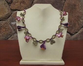 Crochet Flower Necklace, Lilac Necklace, Purple Flower Necklace, Plum and Pink Flower Necklace, Statement Necklace,