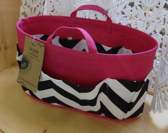 Purse ORGANIZER insert SHAPER with handles / Black & White Chevron on Fuchsia / STURDY / 5 sizes available / Bag Organizer