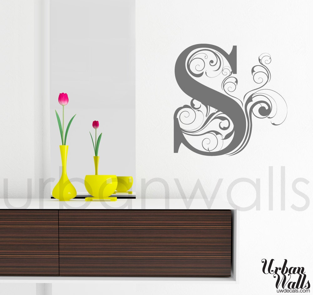 letter wall decals vinyl wall sticker decal swirly letters 17245