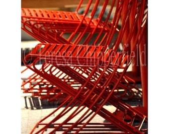 Red Bistro Chair Print, Retro, Metal, European, Cafe, Urban, Modern, Kitchen Photo Print, Stacked tables, Fine Art Photography,8x12,16x24