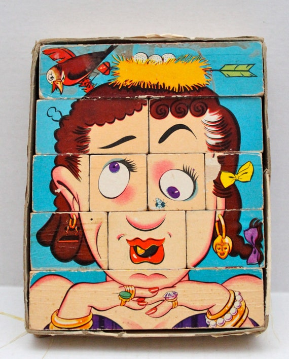 Vintage Wood Block Face Puzzle Changeable Charlie S
