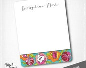 EVANGELINE - personalized flat notecard set / FLORAL / 10 notecards & 10 envelopes