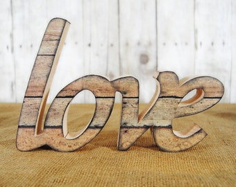 Freestanding wooden 'love' wording decoration unfinished DIY option
