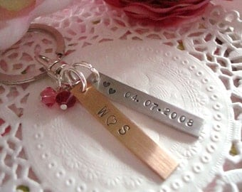 Personalized Save The Date Hand Stamped Keychain With 2pcs Birthstone Charms