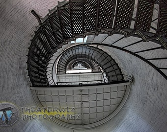 St Augustine Lighthouse Stairs Fine Art  Photographic  Print