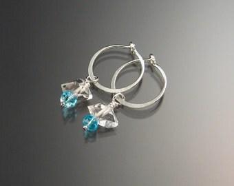 Natural Quartz Crystal Birthstone Hoop Earrings March birthstone Aqua blue Hoops in Sterling silver