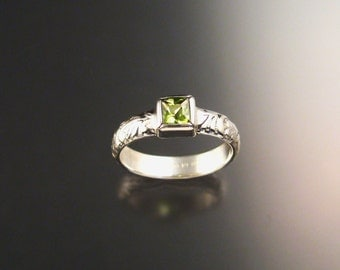 Peridot ring Sterling silver square stone bezel set made to order in your size