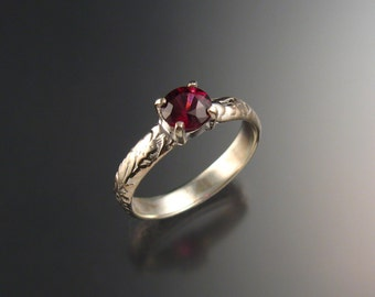 Garnet Natural Raspberry Rhodolite Garnet Wedding ring 14k White Gold Ruby substitute ring made to order in your size