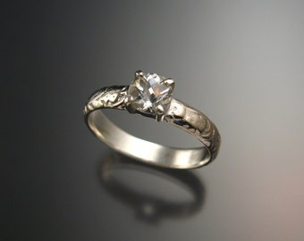 White Topaz Wedding ring 14k White Gold Diamond substitute ring made to order in your size