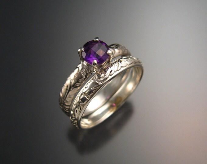 Amethyst Wedding set Sterling Silver ring handmade to order in your size