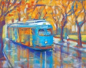 Blue Tram Pastel Painting Signed Giclee Print