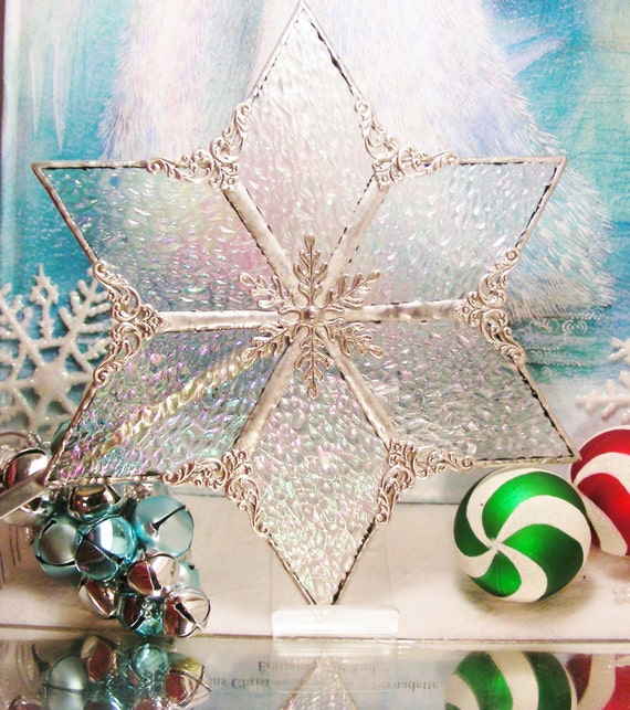 Iridescent ice tree topper christmas stained