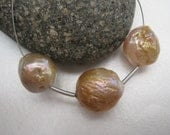 3x Kasumi style nucleated wrinkle Pearls - pink, peach, copper bronze nacre, 12-13mm