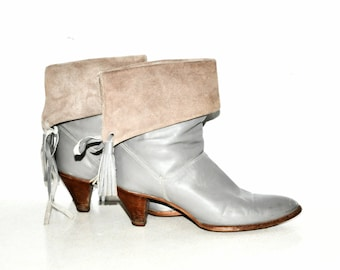 A M A Z I N G DINGO Grey Suede and Leather Fringe Ankle Heel Boots