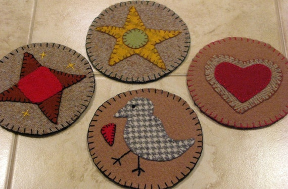 Penny rug primitive felted wool coasters mug rugs candle for Penny coasters