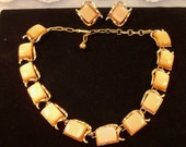 Playful Vintage Signed Coro Peach  Lucite Thermoset Necklace and Earring Set