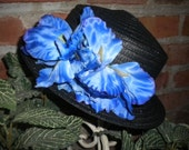 Women's black hat -royal blue flowers - Derby hat - church hat - dress hat - Tea party hat - garden party hats