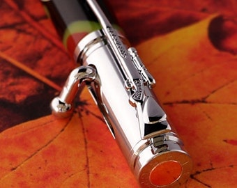 Military Style Camo 30 Caliber Bullet Pen With Bolt Action pen movement with Chrome Metal Finish