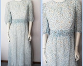 Vtg.70s Blue White Chiffon Sheer Sleeve Floral Daisies Ruched Waist Maxi Dress.M.Bust 36.Waist 30