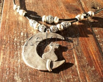 women cat in the moon brown  leather necklace with silver beads