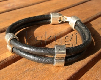 Black bracelets, black leather bracelets, mens Black bracelet, mens leather bracelets, mens bracelets, leather Bracelets, silver bracelets