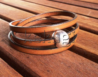 multi wrap women Camel brown leather bracelet with sterling silver plated ball magnec clasp
