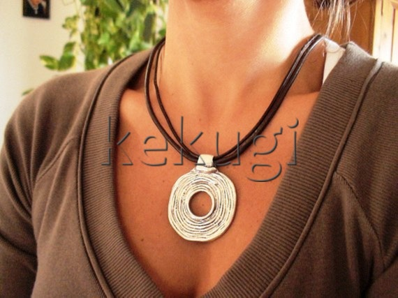 women silver donut leather necklace sterling silver plated findings