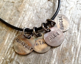 Guys Necklace- Mens Leather Necklace- Man Family Necklace- Name Necklace
